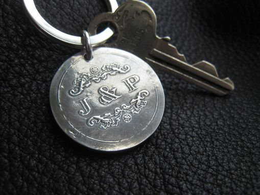 Custom Made Sterling Silver Key Chain Key Ring Key Fob With Wedding Logo - 1 1/8