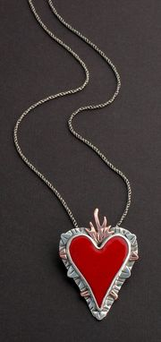 Custom Made Sacred Heart Pendant-Enamel