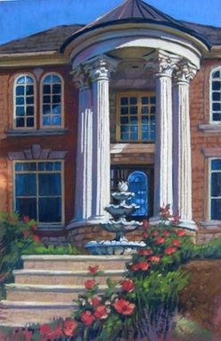 Custom Made House Portrait Painting In Pastel, 26 X 18 Inches