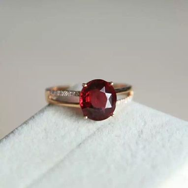 Custom Made 2.93 Carat Rhodolite Garnet Ring 14k Rose Gold