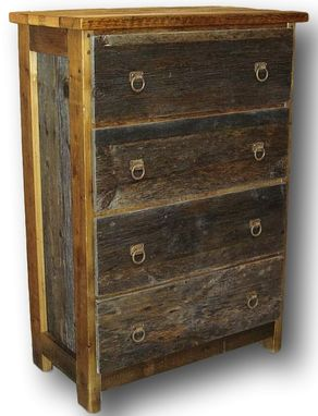 Custom Made Reclaimed Barn Wood Dresser Two Tone 4 Drawer