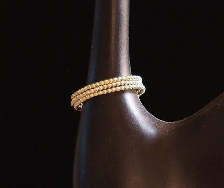 Custom Made One 14k Solid Gold Dotted Stackable Wedding Band