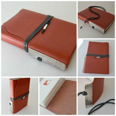 Custom Made Red Leather Planner Journal Personal Diary Handmade Elegant Made To Order Gift In Silver (266c)