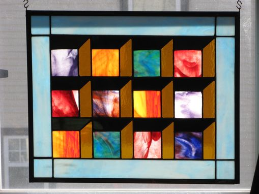 Custom Made Optical Illusion Stained Glass Quilt Panel