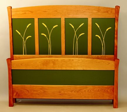 Custom Made Bedframe With Painted Panels In Wheatstraw Motif - Cherry