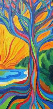 Custom Made Original Acrylic Painting Of Whimsical Trees