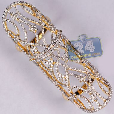 Custom Made Certified 18k Yellow Gold 2.64 Ct Diamond Womens Long Double Ring