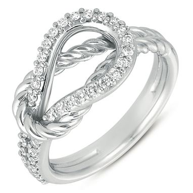 Custom Made White Gold Love Knot  Diamond Ring