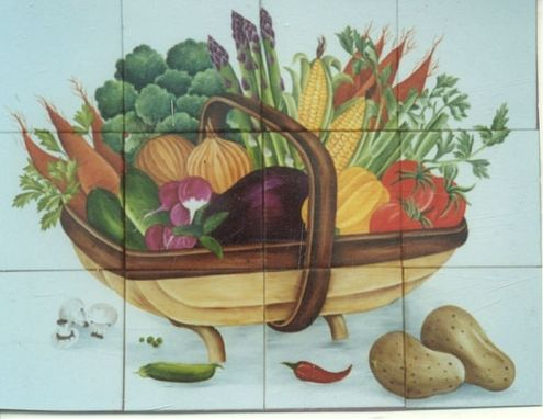 Custom Made My Sample Wooden Basket With Vegetables.