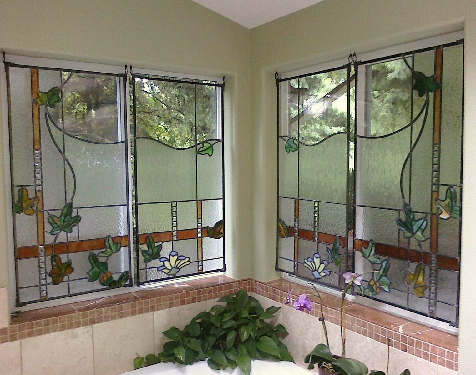 Stained Gl Bathroom Windows