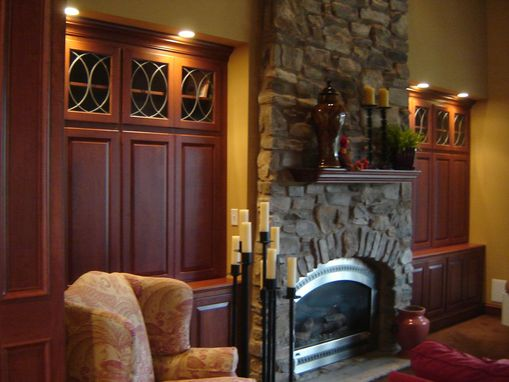 Custom Made Cherry Fireplace Wall Alcove Cabinetry
