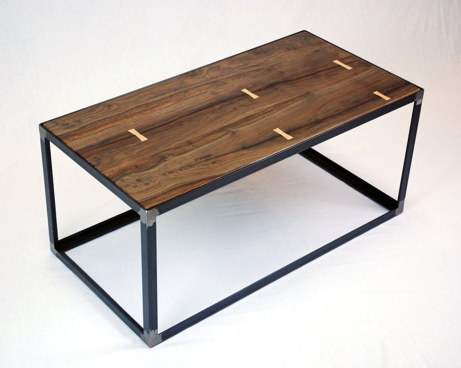 Hand crafted salvaged black walnut industrial coffee table for Coffee tables industrial