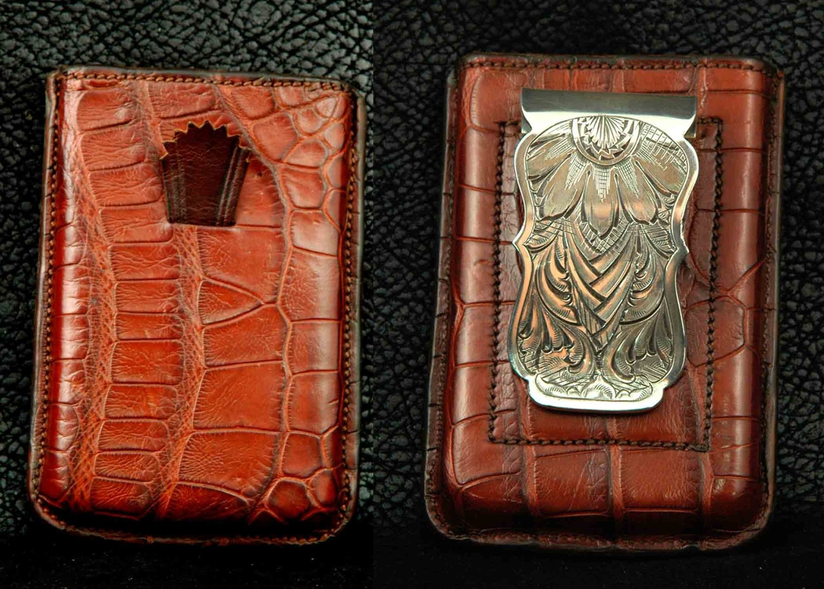 Custom money clips engraved money clips personalized money exotic leather card wallet with sterling silver money clip by gordon andrus magicingreecefo Choice Image