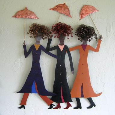 "Custom Made Handmade Upcycled Metal Wall Art ""Walking In The Rain''"