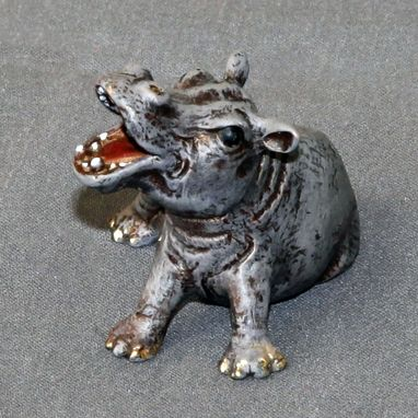 "Custom Made Bronze Hippopotamus ""Hippo Baby"" Figurine Statue Sculpture Art Limited Edition Signed Numbered"