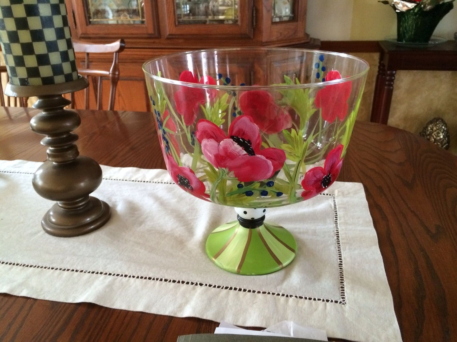 Handmade Hand Painted Trifle Bowl Punch Bowl Glassware
