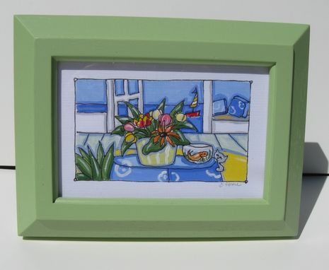 Custom Made Framed Acrylic And Ink Painting Landscape Animal Still Life