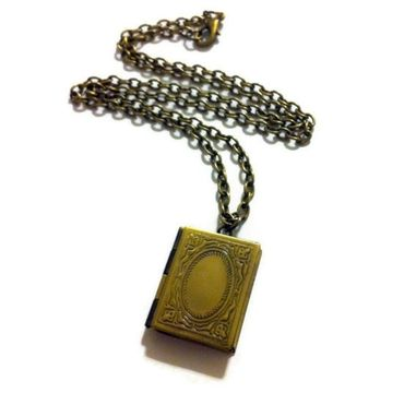 Custom Made Bronze Book Locket Necklace