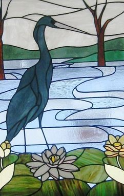 Custom Made Blue Heron Art Glass Panel