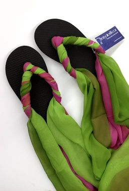 Custom Made Sensationwear Custom Scarf Ankle Tie Flip Flops For Women