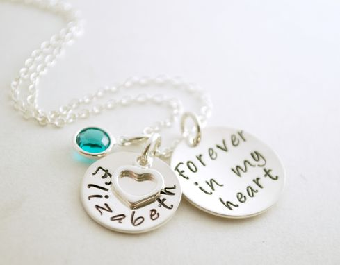 Custom Made Custom Hand Stamped Memorial Necklace With Personalized Name Charm Forever In My Heart