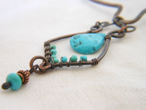 Custom Made Handcrafted Turquoise Wire Wrapped Necklace