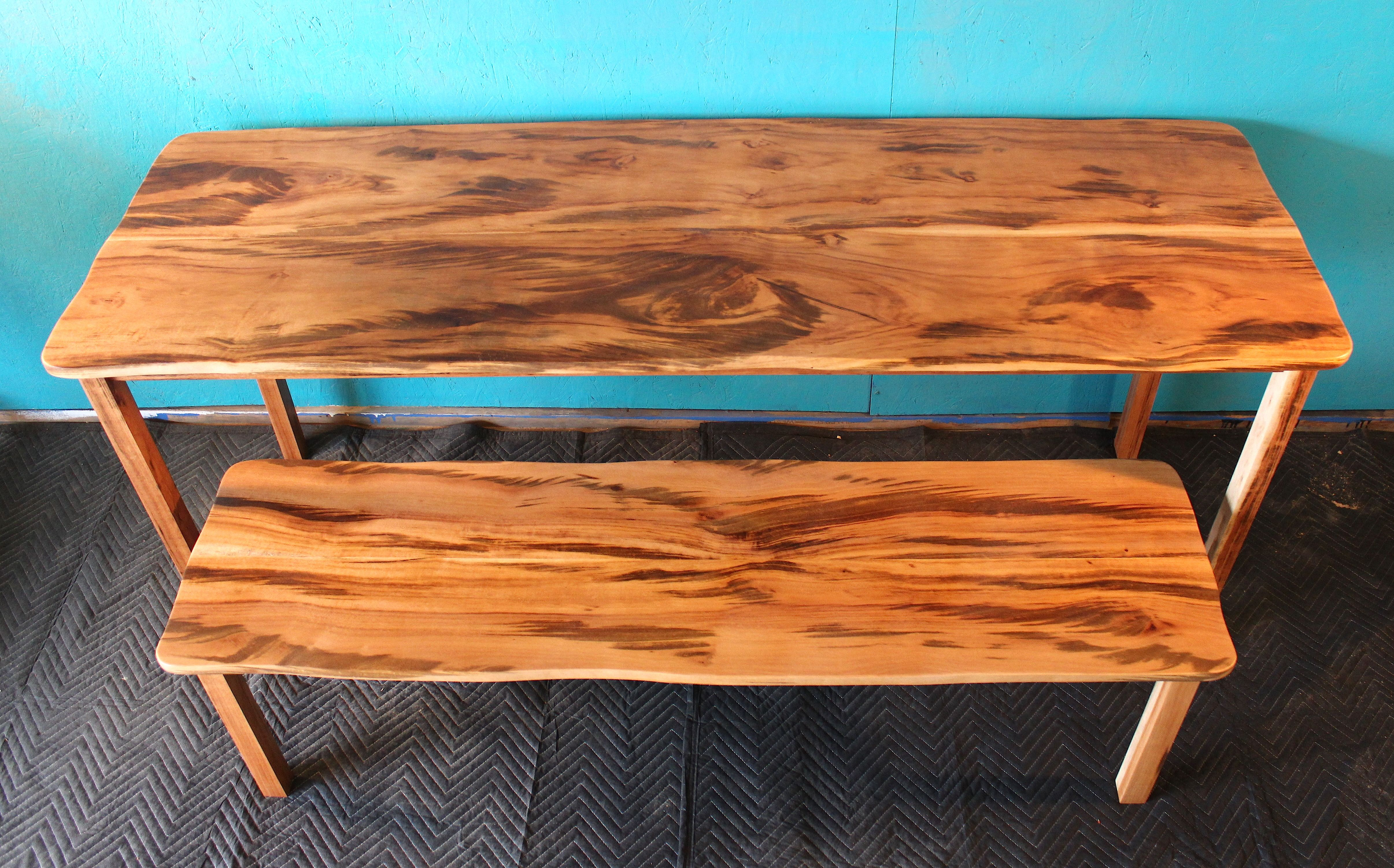 Hand Made Tiger Wood Dining Table With Matching Bench In Live Edge