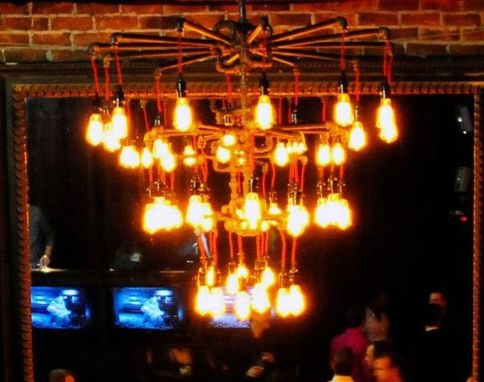 Custom Made 3 Tier 30 Bulb Chandelier - Industrial Steampunk - Black Malleable Iron