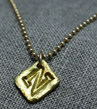 Custom Made 22k Gold Initial Hammered Necklace - $395