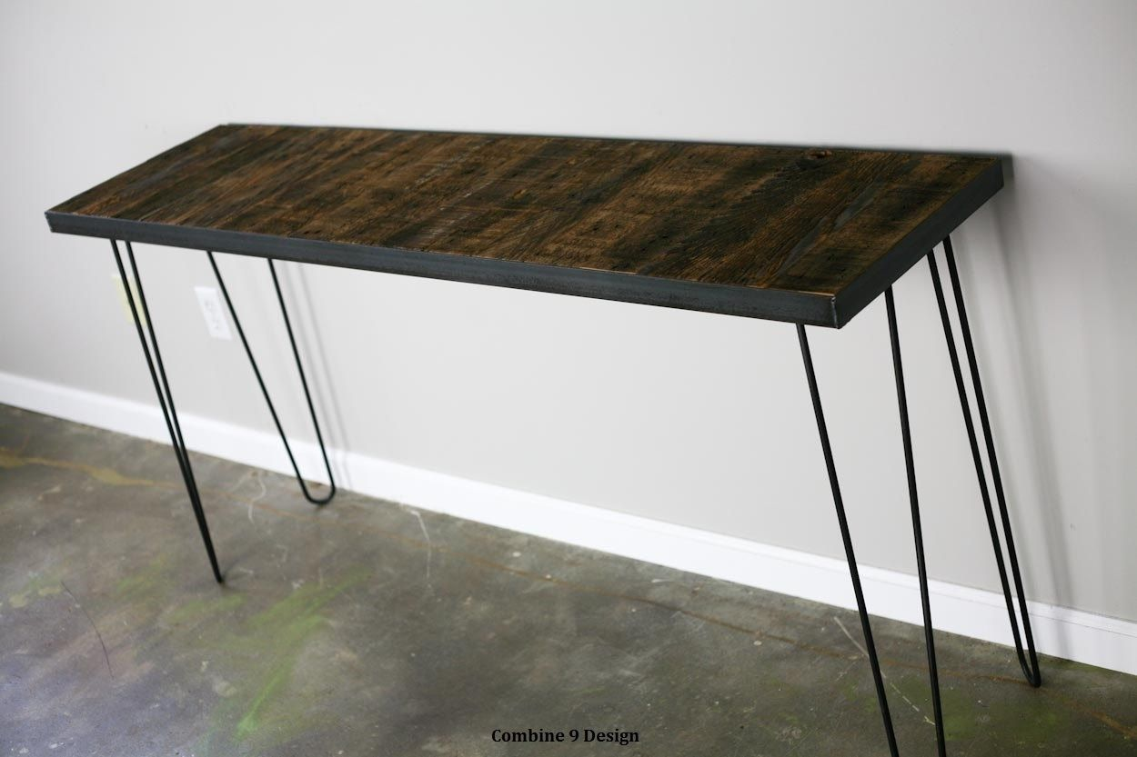 A Hand Made Sofa Table Steel Reclaimed Wood Modern Urban Vintage Console Style Loft Decor To Order From Combine 9