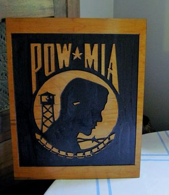 Custom Made P.O.W. And M.I.A. Carved Wood Sign To Honor Our Military And Service Heroes / Veterans