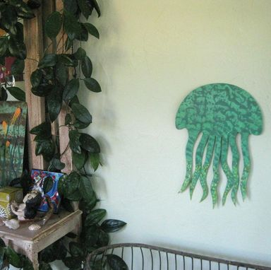 Custom Made Sea Life Wall Art Sculpture - Jellyfish - Reclaimed Metal Ocean Wall Decor Beach House Wall Art