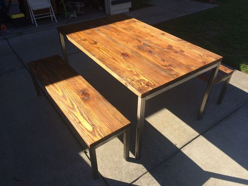 Custom Made Modern Table With Steel Legs