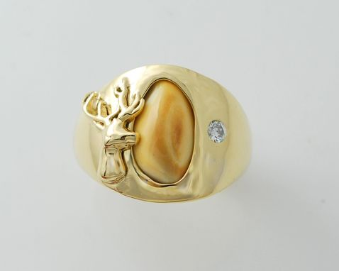 Custom Made 14kt Elk Ivory Mens Ring With .10ct Diamond