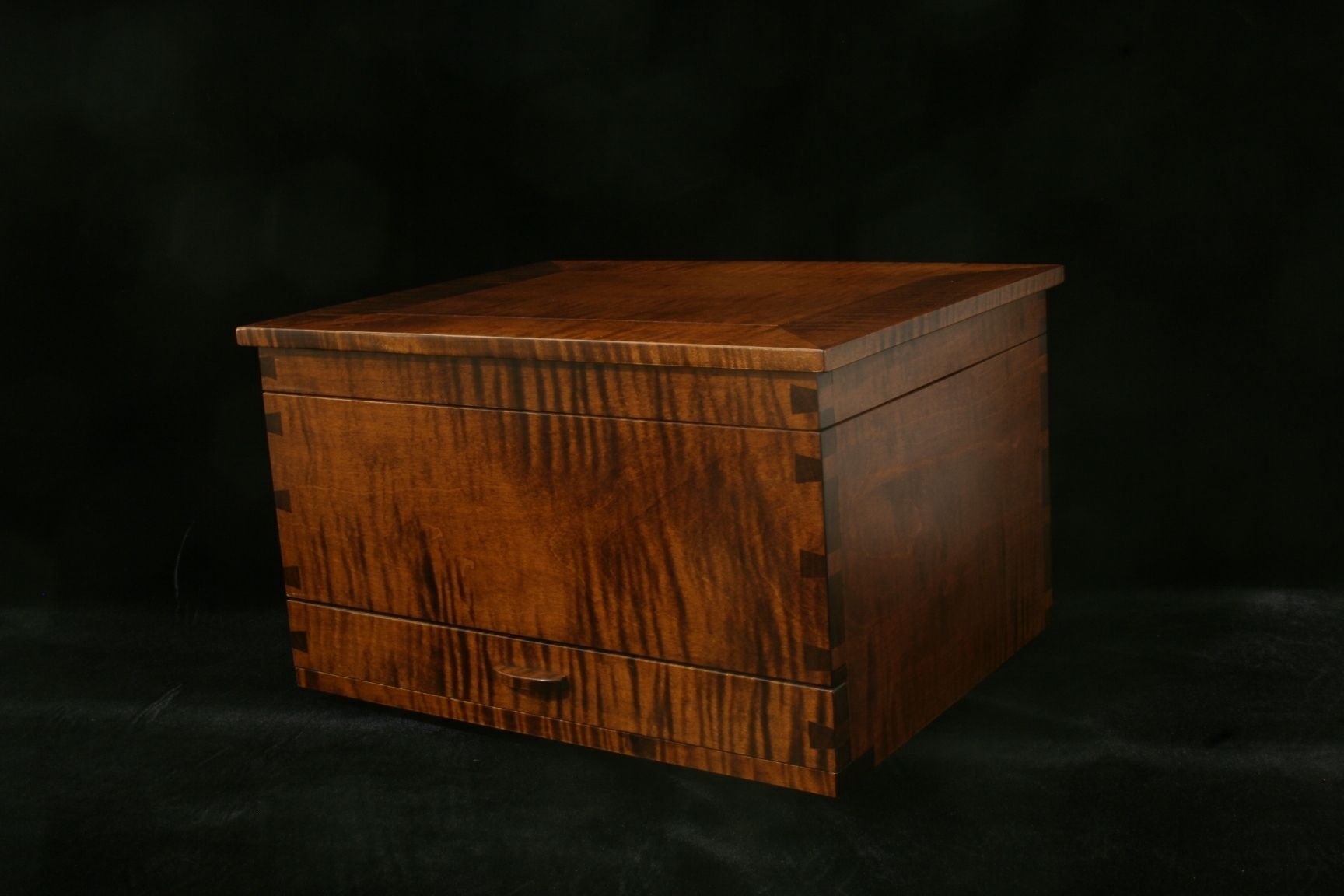 Handcrafted wood jewelry boxes - Jewelry Box Made In Tiger Maple By Michael Mcguire