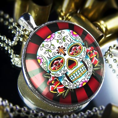 Custom Made Large Sterling Silver Dia De Los Muertos Rays Necklace 61-Slrn