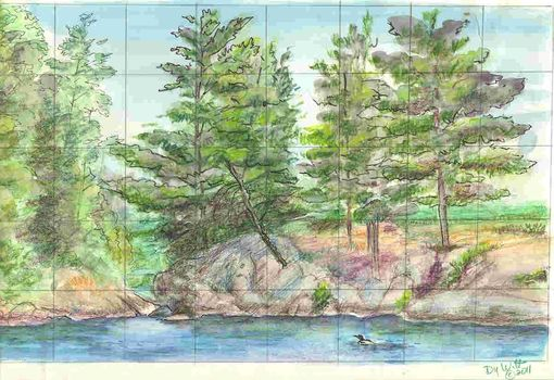Custom Made Design Sketch For Hand Painted Ceramic Tile Mural: Canadian Wilderness