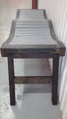 Custom Made Rustic Style Folding Bench Black And Grey In Color.