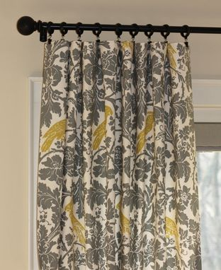 Custom Made Renalidi Connolly Bird Aviary Silhouettes Jacquard In Metro Black And Citrine 96l X 50w