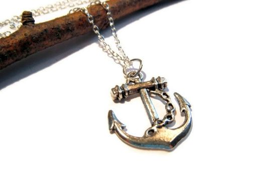 Custom Made Silver Anchor Necklace