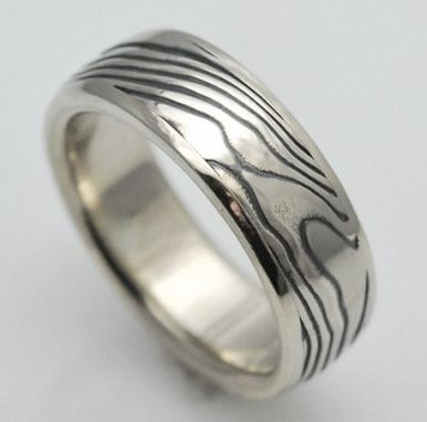 Custom Made Inlayed 14k White With Sterling Gold Mokume Gane Ring