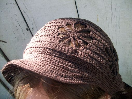 Custom Made Crocheted Newsie Newsboy Cap With Spider Web Design In Rich Chocolate Brown Cotton