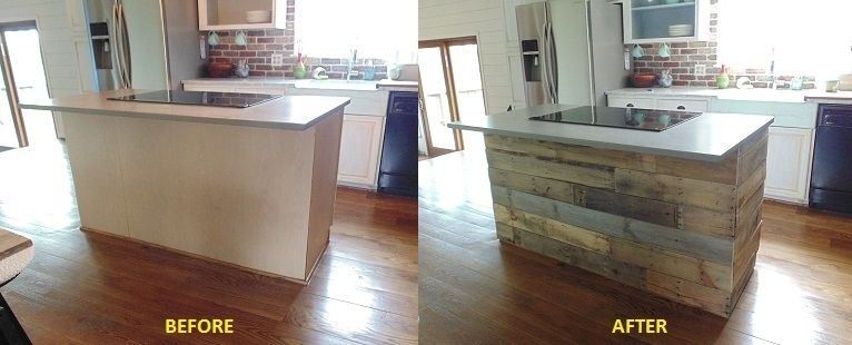 Wood Covered Walls custom reclaimed wood interest wall or island covering