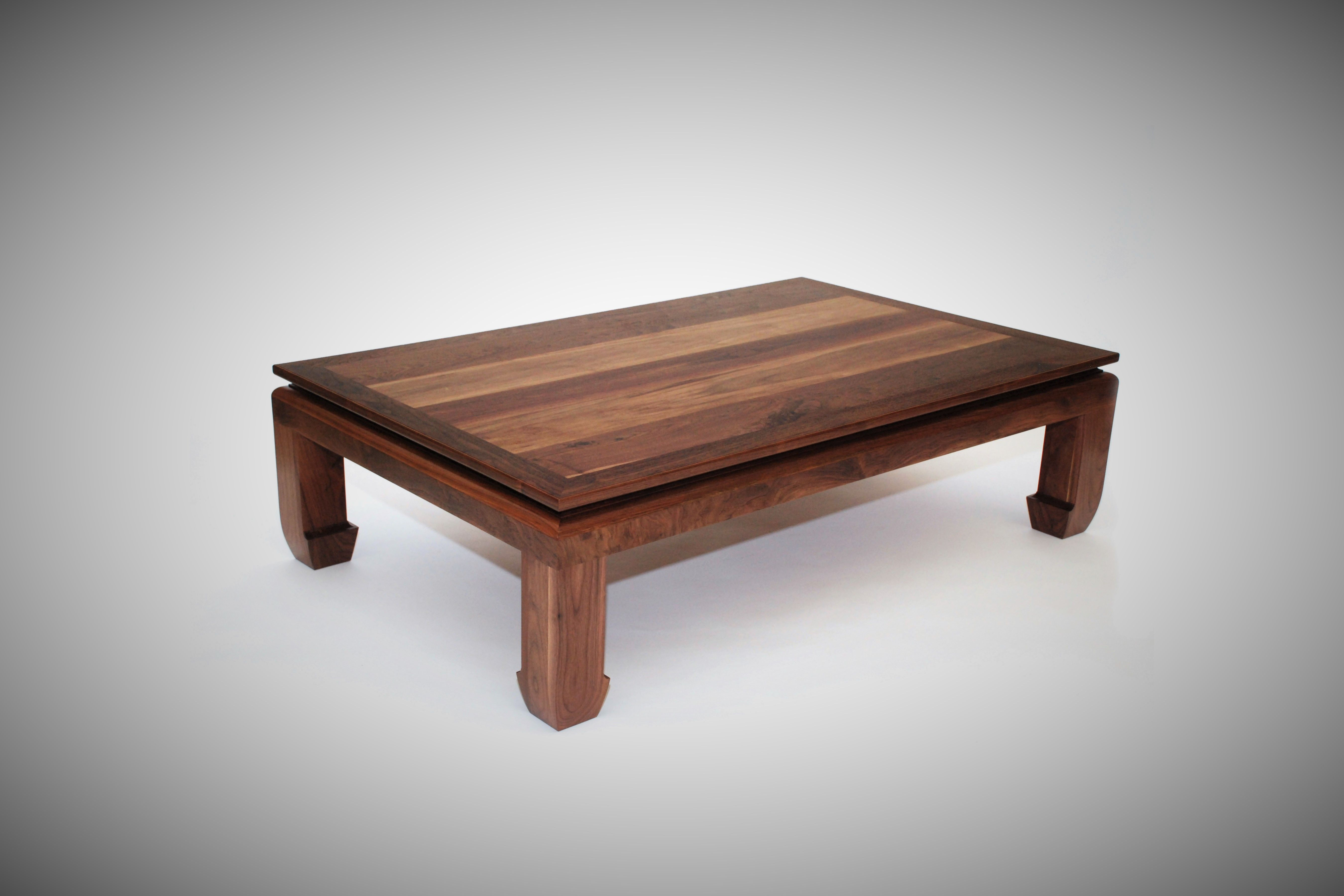 Custom Made Ming Walnut Coffee Table