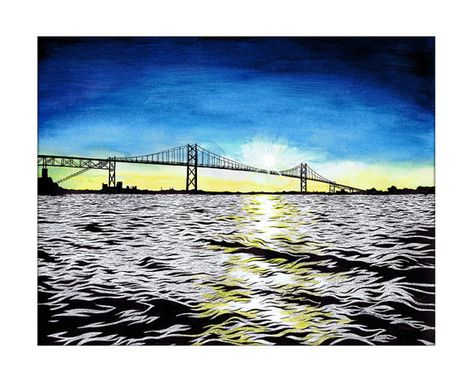Custom Made St. Lawrence River Bridge To Canada Thousand Islands Illustration Fine Art Print