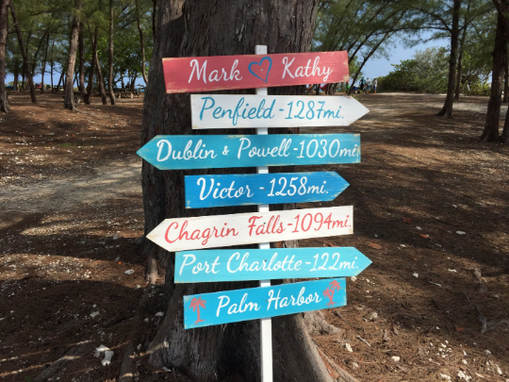 Custom Made Wood Directional Rustic Sign, Nautical Arrow Signage For Wedding