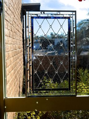 Custom Made Diamond Grid Stained Glass Window