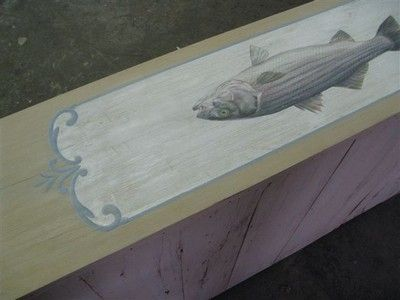 Custom Made Custom Barn Wood Sideboard With Fish Painting