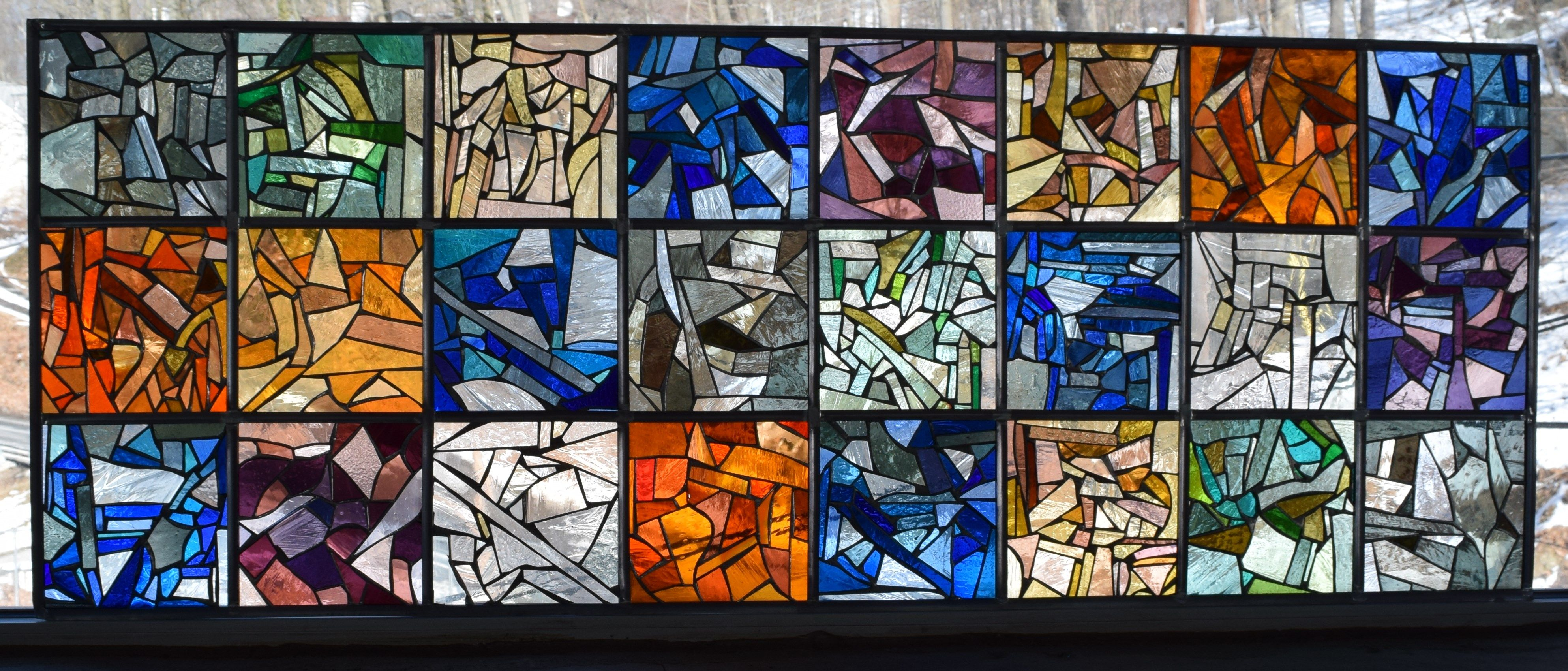 Handmade Stained Glass Collage Colorful Abstract Modern
