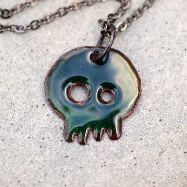 Custom Made Enamel Skull Pendant, Dia De Los Muertos Necklace, Copper, Red Enameled Jewelry - Baby Jeannie